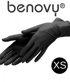 Перчатки нитриловые черные р. XS 50 пар Benovy