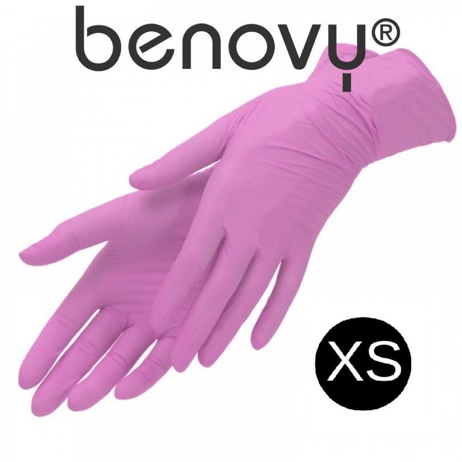 Перчатки нитриловые розовые р. XS 50 пар Benovy