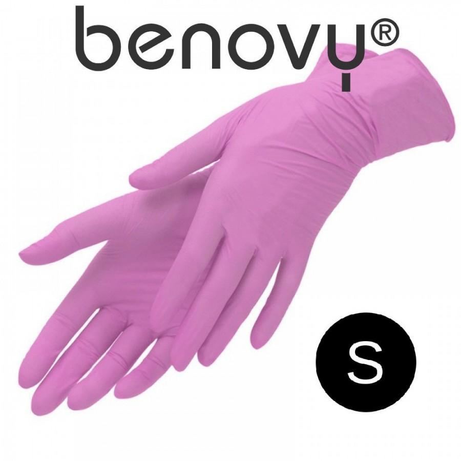 Перчатки нитриловые розовые р. S 50 пар Benovy