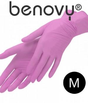 Перчатки нитриловые розовые р. M 50 пар Benovy
