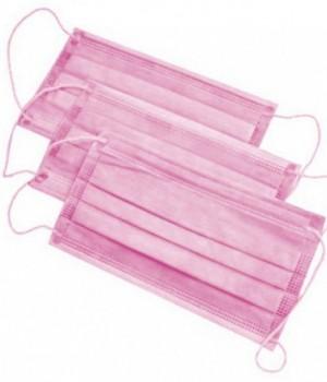 Маска трехслойная на резинке 100 шт розовый