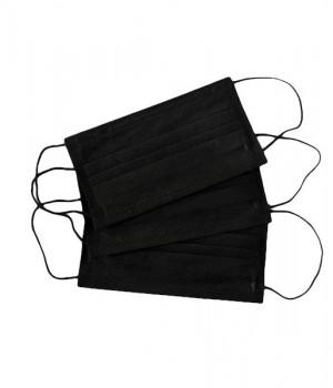 Маска трехслойная на резинке 50 шт черный